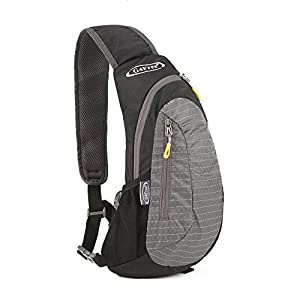 G4Free sling bag, Casual Cross Body Bag Outdoor Shoulder Backpack Chest Pack with One Adjustable Strap for Men Cycling Hiking(Black-Grey)