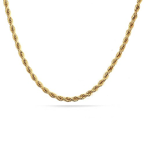 Mens Cuban Curb/Figaro Chain Link Necklace for Pendant Men Women 3mm Hip Hop Men's Punk Jewelry with 20/24/30 inches (Gold (24 inches)) by Elogoog Women jewelry (Image #3)
