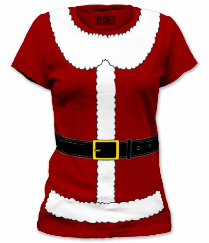 Mrs. Santa Claus Suit Junior's Costume T Shirt - Medium