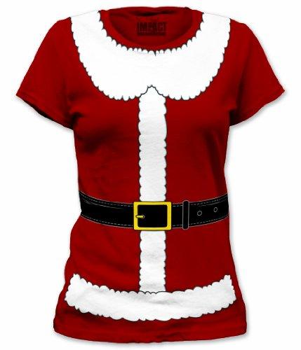 Mrs. Santa Claus Suit Junior's Costume T Shirt - Medium (Junior Costumes)