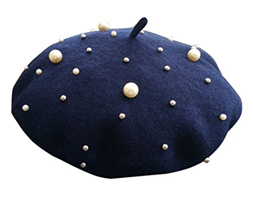 Aristocratic Girl Costumes (CN'Dragon Fashion Pearl Beret Winter Woolen Warm Rivet Hat)