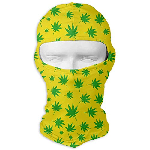 UV Protection Face Mask for Cycling Outdoor Sports Full Face Masks Cannabis Leaves Green Yellow Balaclava Hood Skullies -