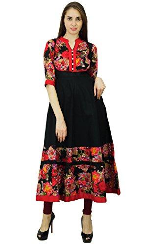 Diseñador Y Kurti Negro Phagun Vestido Algodón Anarkali Étnico Patrón Floral Rojo Kurta RC17q