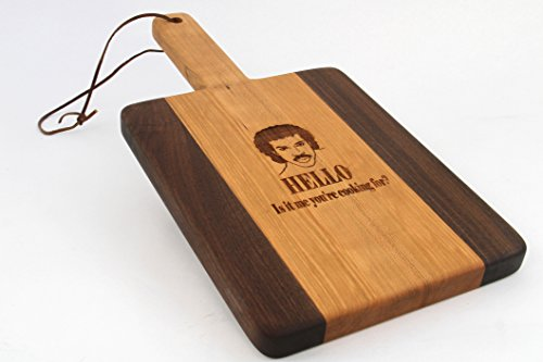 Handcrafted Wood Cutting Board - Paddle Board,Cherry & Walnut, Laser engraved,HELLO, Is it ME your cooking for, Music board