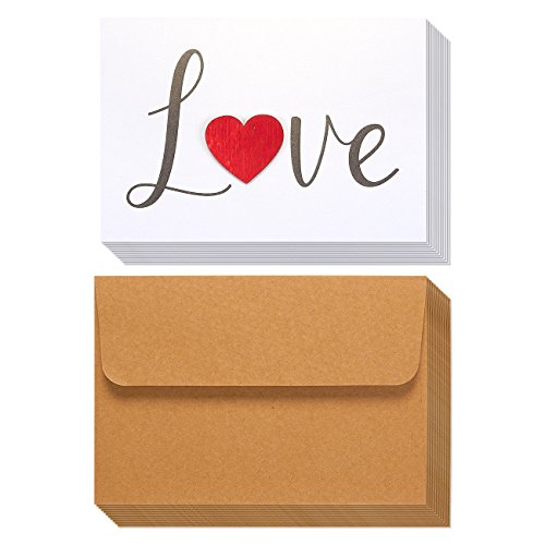 12 Pack Valentine Cards - Love Cards - Cursive Font Wooden Heart Design, Includes Envelopes, Romantic Greeting Cards for Valentine's Day, Anniversaries, 7.3 x 5.2 Inches ()
