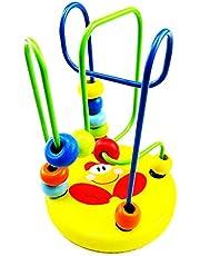 Ndier Juguete de Madera para bebé Mini Around Beads Wire Laberinto Juego Educativo Bauble Beaded Game (Chick) 1 PC