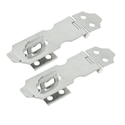 "Cabinet Gates Door Stainless Steel Hasp Staples Set 2"" Long 2 Set"