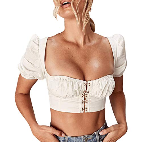 (Maxrise Women's Elegant Short Puff Sleeve Square Neck Blouse Shirts Tops White)