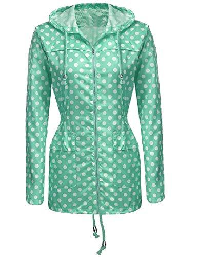 Jacket Parka Zip Full Green Anorak Long Mid Dots Polka Rain Women's RkBaoye 6TUI6
