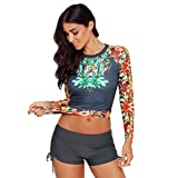 Fainosmny Womens Swimsuits Two Pieces Swimwear Plus Size Swimsuits for Women Floral Bikini Quick-Drying Surf Shorts Tops Gray