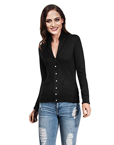 Vincenzo Boretti Woman's Cardigan Shawl Collar and Pearl Buttons Black Medium ()