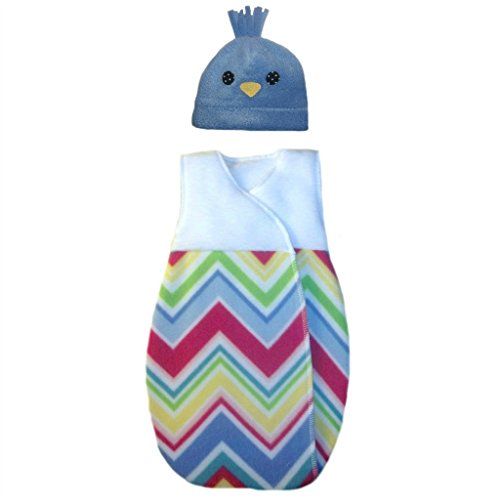 Fleece Baby Snuggle Sack - Jacqui's Baby Boys' Blue Fleece Chick Hat and Snuggle Sack, 0-3 Months
