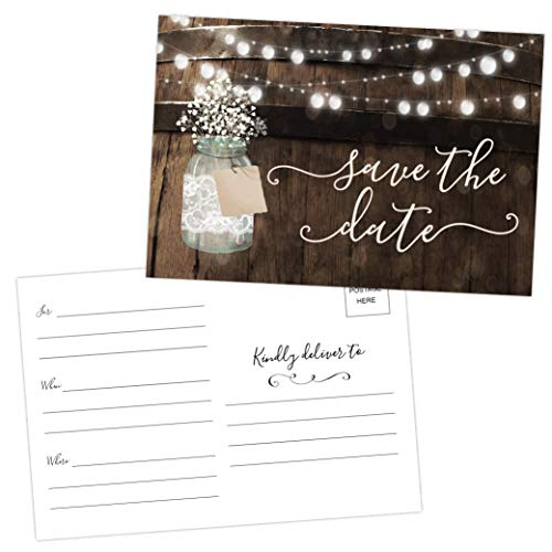 50 Rustic Mason Jar Save The Date Cards for Wedding, Engagement, Anniversary, Baby Shower, Birthday Party, Wood Save The Dates Postcard Invitations (Date Wood Save The)