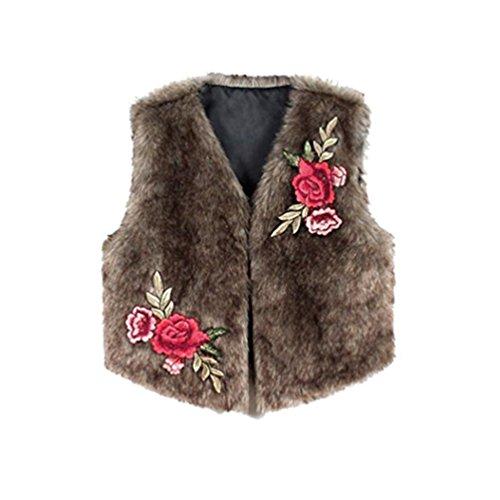 Marrón cálido de sintética pelo de de las abrigo de bordado de Outwear Chaqueta Chaleco Piel de chaqueta largo de Koly imitación sin invierno Prendas mangas mujeres piel vestir chaleco de q7HCFSw