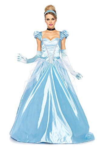 Disney Princesses Costumes Adults (Leg Avenue Disney 3Pc. Classic Cinderella Costume, Blue, Large)