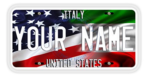 - BleuReign(TM) Personalized Mixed USA and Italy Flag Car Vehicle License Plate Auto Tag