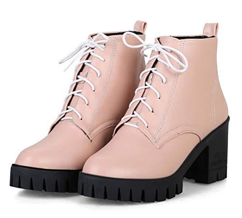 HiTime - Botas Militares de Piel Mujer, Color Rosa, Talla 37 1/3: Amazon.es: Zapatos y complementos