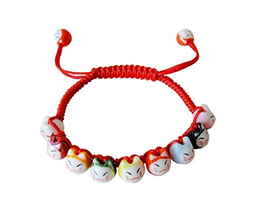 Handmade Ceramic Beads Bracelets Glass Crystal Beads Fashion Friendship bangle For Girls Adjustable Red
