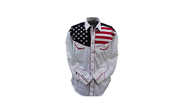 Amazon rockmount men s usa flag western shirt medium red