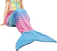 Catalonia Kids Mermaid Tail Blanket,Super Soft Plush Flannel Sleeping Snuggle Blanket for Girls,Fish Scale Pat