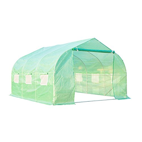 Outsunny 12' x 10' x 7' Portable Walk-in Garden Greenhouse - Deep Green