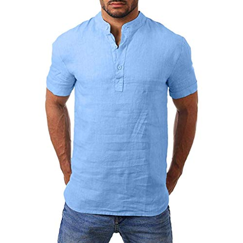 SFE Men Henry Short Sleeve Slim Solid Linen Shirts Male Casual Business Fit Blouse with Button Casual wear Working Blue]()