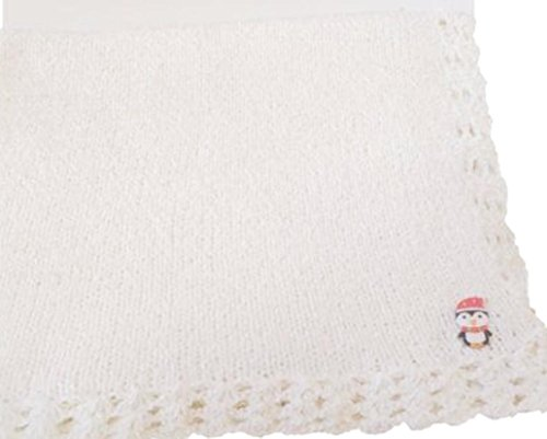 knitted-crochet-pink-chenille-large-baby-blanket-with-penguin-applique