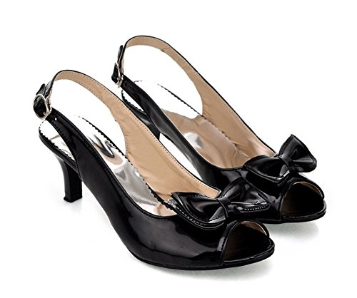 Aisun Women's New Patent Leather Peep Toe Kitten Heels Sandals Shoes with Bows Black 8.5 B(M) (New Patent Leather Peep Toe)