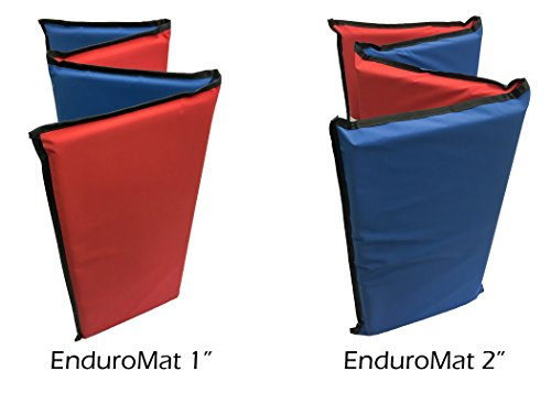 KinderMat, EnduroMat, Durable Kids Rest Mat, Reinforced Vinyl, 1 or 2 Inches Thick, 48 x 24 Inches, Black Binding, Red Blue