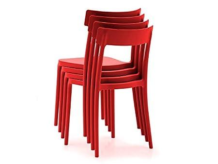 Sedie Rosse Calligaris : Connubia set 4 sedie argo rosse: amazon.it: casa e cucina