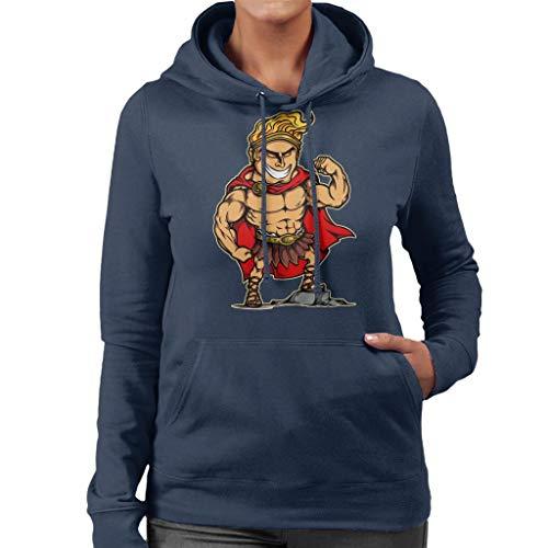 Blue Cartoon Hercules Sweatshirt Navy Women's Hooded P4SqwXd