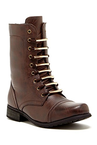 Carrini CA Collection Womens Fashion Hardware-Accented Combat Boots
