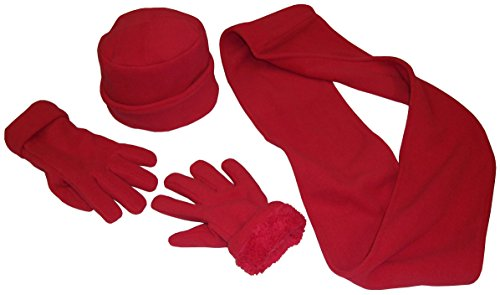(N'Ice Caps Adults Unisex 2 Ply Micro Fleece Beanie Hat/Scarf/Gloves Set (One Size,)