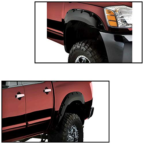 For Nissan Titan 2004-2014 With Bedside Lockbox Black Front and Rear Fender Flares (Nissan Fender Flares)