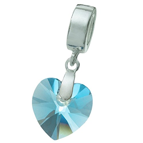 925 Sterling Silver Birthday March Blue Heart Dangle For European Charm Bracelets using Swarovski Elements Crystal - Crystal Flower Slide Charm