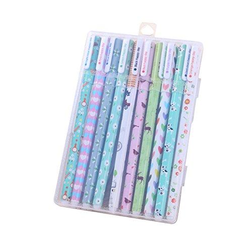 ASKCUT 10 Assorted Colors Gel Pen, Korean Kawaii Cartoon Animal Signature Pens School Stationery Supplies for Girls Boys Office