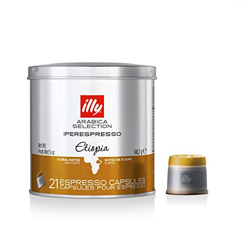 Floral Single - illy Coffee, iperEspresso Capsule,Arabica Selections Ethiopia Single Origin Espresso Pods, 100% Arabica Bean Premium Gourmet Light Roast, Citrus & Floral Notes; For illy iperEspresso Machines (21 ct)