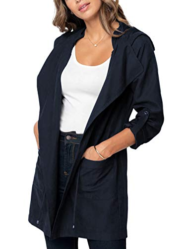 LEANI Women Casual Lapel Long Sleeve Drawstring Waist Pockets Lightweight Jacket Hooded Trench Coat ()