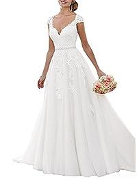 Jdress Women's Elegant Lace Applique Court Train A Line Wedding Dress With Sash