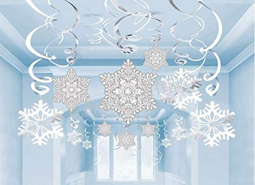 Tereway Christmas Hanging Decorations, Snowflake Swirls Decor - Xmas/Party/Home Decor/Holiday/New Years Party Supplies