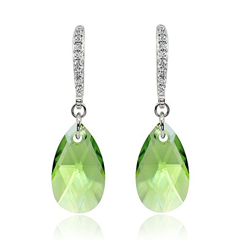 Sterling Silver Light Green Teardrop Dangle Earrings Made with Swarovski Crytals
