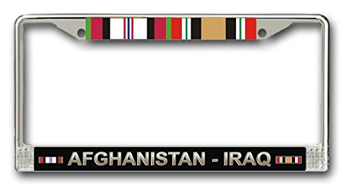 MilitaryBest Afghanistan Iraq Campaign With Ribbons License Plate - Campaign Silver Ribbon