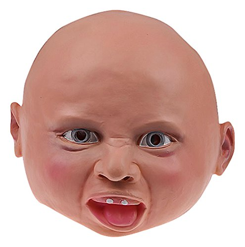 Maze Crying Horrified Satisfied Scary Baby Latex Halloween Full Face Masks, HappyBaby One Size