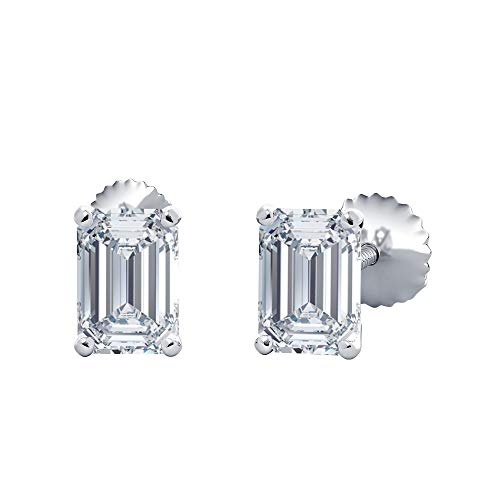 (9X11MM) Emerald Cut Created White Diamond Solitaire Stud Earrings 14K White Gold Over .925 Sterling Silver For Women's