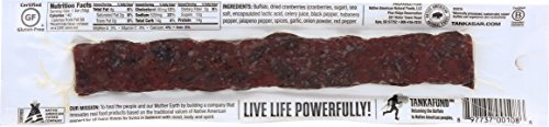 Bison Pemmican Meat Bar with Buffalo and Cranberries by Tanka, Gluten Free, Beef Jerky Alternative, Slow Smoked Original, 2 Ounce Bar, Pack of 12 by Tanka (Image #1)