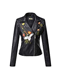 LINGMIN Women's Motorcycle Faux Leather Jacket Floral Embroidered Zipper Biker Coat
