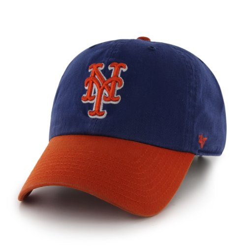 (MLB New York Mets '47 Brand Clean Up Two Tone Adjustable Cap, One Size,)