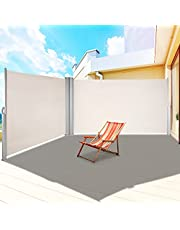 """LOVESHARE Retractable Side Awning 236"""" x 71"""",Double Retractable Patio Screen Waterproof, Retractable Room Divider for Privacy, Garden, Outdoor, Patio and Terrace"""