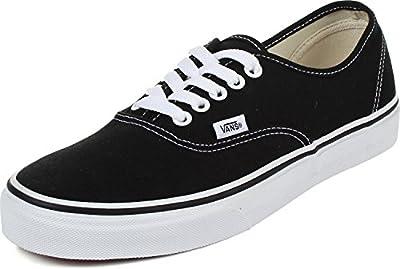 Vans Unisex Authentic Solid Canvas Skateboard Sneakers (42-43 M EU/9.5 D(M) US, Black/White)