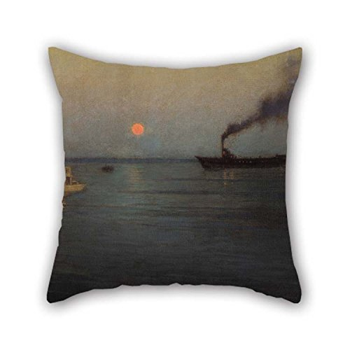 Oil Painting L. Birge Harrison - Rosy Moon Off Charleston Harbor Throw Pillow Case 20 X 20 Inches / 50 By 50 Cm Gift Or Decor For Couch Indoor Birthday -